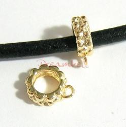 14K Real Gold Plated silver Pendant Charm Connector Cord Ring Slide for European Charm Bracelets